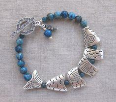 Dark Denim Fish  Lapis & Jasper coastal bracelet w segmented fish beads by SeaSideStrands