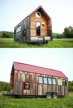 Recycled Pocket House: Custom Rustic Cabin on Wheels