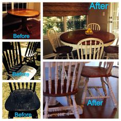 My new kitchen table. Chalk paint, sanding and refinishing chairs, distressing, dark wax...