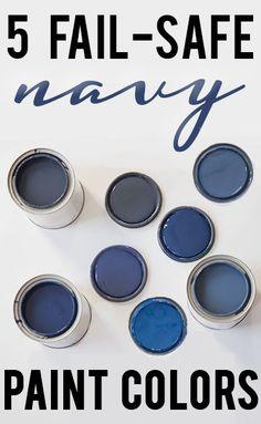 I love a good navy blue! Five beautiful navy blue paint colors!Benjamin Moore Old Navy Benjamin Moore Hale Navy Navy Paint Colors, Interior Paint Colors, Paint Colors For Home, Wall Colors, House Colors, Diy Interior, My New Room, House Painting, Painting Tips