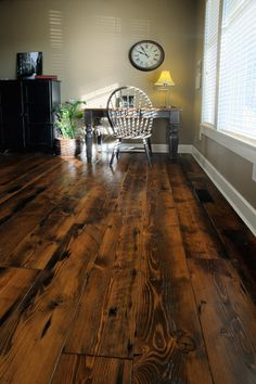 DIY rustic wood floors. Finish your project off using FloorAid+, no harsh chemicals AND environmentally friendly! Designed to clean all hard surfaces while enhancing their natural gloss and beauty!