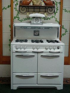 Wedgewood, Double Oven, 6 burner, Gas stove, complete with adorable salt & pepper shakers! My choice! White Kitchen Appliances, Kitchen Appliance Packages, Vintage Appliances, 6 Burner Gas Stove, Old Stove, Double Oven Stove, Double Ovens, Vintage Cooking, Vintage Kitchen