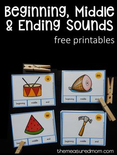 A lot of free stuff # These beginning, middle, and ending sounds clip cards are great for kids in preschool and kindergarten. Teaching Phonics, Alphabet Activities, Literacy Activities, Preschool Letters, Reading Activities, Teaching Skills, Preschool Literacy, Learning Letters, Educational Activities