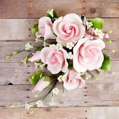 Garden Rose Sprays in Pink are gumpaste sugarflower cake decorations perfect as cake toppers for cake decorating fondant cakes and wedding cakes. Sugar Paste Flowers, Icing Flowers, Fondant Flowers, Paper Flowers, Fondant Rose, Fondant Cakes, Fondant Baby, Fondant Figures, Elegant Flowers