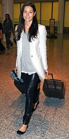Jessica Biel; black/leather skinnies, black flats, layered top: white under gray with white blazer/cover-up