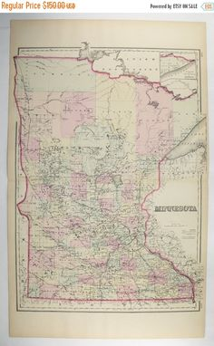 Large Antique Map Minnesota 1876 MN Map, O.W. Gray Map, Man Cave Decor Gift for Him, Unique Office Gift for Coworker, MN Gift for Parents available from OldMapsandPrints.Etsy.com #Minnesota #AntiqueMapofMinnesota