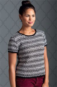 """Tesserae Knitted Top by Vicki Square, As Seen on Knitting Daily TV Series 1100 - Knitting Daily mfn=""""Black&WhiteTesseraeT-Shirt"""""""