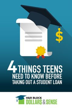 A college education is great but can be pricey. Check out the 4 things teens need to know before taking out a student loan.