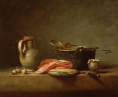 "Jean-Baptiste Siméon Chardin ""Copper Cauldron with a Pitcher and a Slice of Salmon"" - mastery of composition and form - knife at famous angle"