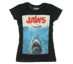 Jaws movie poster officially licensed women's t-shirt. Faded, highly detailed and durable graphic printed on a lightweight, fitted, black shirt. Jaws Movie Poster, Movie Posters, Movie Shirts, Funny Tees, Vintage Tees, Cool T Shirts, What To Wear, Shirt Designs