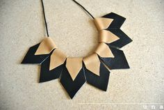 Statement Necklace-Geometric Necklace leather necklace by UNAsiUNA