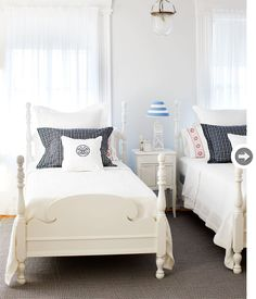 white + navy guest bedroom