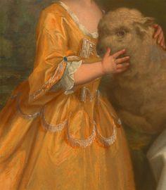 Young Woman with a Lamb (detail),  Thomas Hudson