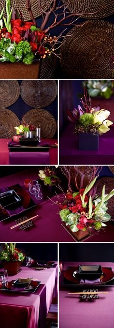 mood events asian wedding tablescape merci new york Chinese Party, Asian Party, Chinese Theme, Asian Wedding Themes, Oriental Wedding, Japanese Wedding, Modern Asian, Purple Christmas, Asian Design