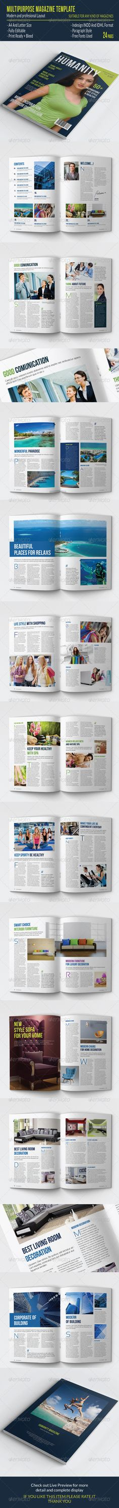 Multipurpose Magazine Template — InDesign INDD #newspaper #simple • Available here → https://graphicriver.net/item/multipurpose-magazine-template/7758215?ref=pxcr
