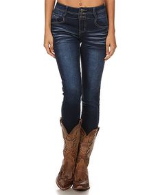 $22.99 Loving this Dark Blue Denim Skinny Jeans on #zulily! #zulilyfinds