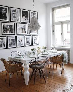 69 graceful farmhouse dining room design ideas that looks cool page 24 Dining Room Design, Dining Room Table, Dining Area, Ghost Chairs Dining, Dining Room Picture Wall, Dining Rooms, Apartment Chic, Apartment Living, Dining Room