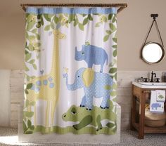 This Safari Shower Curtain features sweet safari animals in fun colors and patterns.
