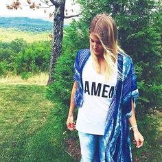 Effortless #basicsnyc styled via @katybezet. How much do you love this tee/kimono combo?