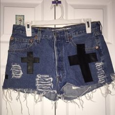 High-waisted cross denim shorts #nastygal Barely worn in new condition. Outgrown them! I love these shorts cost me an arm and a leg literally! Nasty Gal Shorts