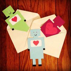 Retro Robot Handmade Valentine's Day Cards by CraftyLumberjacks, $12.00
