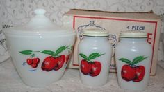 Fire King Apples and Cherries Range Set, with original box    MINT RANGE SET by UdellLane on Etsy