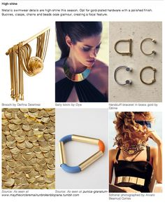 S/S 15 trend, Gold plated hardware with a polished finish Next Fashion, Future Fashion, Unique Fashion, Womens Fashion, Ss15 Trends, 2015 Fashion Trends, Fashion Forecasting, Fashion Seasons, Ss 15