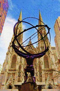 Rafael Salazar Digital Art - Rockefeller Center In New York City by Rafael Salazar