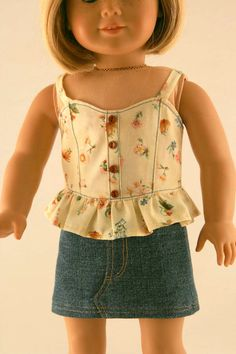 American Girl Doll Clothes - Bustier with Peplum and Jean Skirt. $19.99, via Etsy.