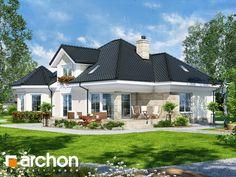 Projekt domu Dom pod juką 4 - ARCHON+ Bungalow Style House, Bungalow House Plans, Village House Design, Village Houses, Beautiful House Plans, Beautiful Homes, 3d House Plans, House Construction Plan, Country Style House Plans