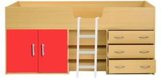 """Tarzan  Overall size: 74""""x38""""x36"""" mattress size: 72""""x36"""". Comprises of closed compartments to left, metal ladder in middle and three drawers on right All 18mm prelaminated particle board Rs.26,000/- including delivery all over India For buyers needing higher strength, 25mm boards can be used for sides, upper side supports and rest in 18mm. Price : Rs.29,000/- Disptach in 15 days after receipt of payment.  visit http://kidsfurnitureworld.in/bunk-beds.html"""