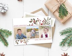 Christmas Card Template Floral Watercolor Christmas Christmas Template for Photoshop Photograp Christmas Photo Card Template, Christmas Templates, Christmas Photo Cards, Xmas Cards, Christmas Photos, Holiday Cards, Diy Cards, Modern Christmas Cards, Merry Christmas Love