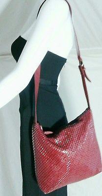 WHITING & DAVIS Mesh Bucket Bag Maroon Red