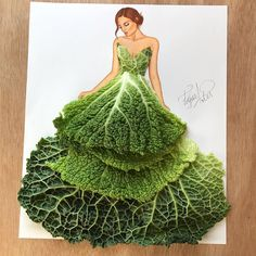 Cabbage Gown. Drawings and Food Art Dresses. By Edgar Artis.