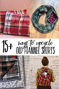 Clean out your closet and upcycle old flannel shirts into fun new projects! This curated list has over 15 creative ideas of what to do with flannel shirts including no sew crafts and upcycle sewing tutorials. Upcycled Crafts, Sewing Crafts, Sewing Projects, Upcycled Clothing, Fabric Crafts, Upcycled Shirts, Upcycling Projects, Cardboard Crafts, Fun Projects