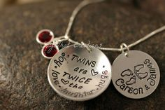 "TWINS Sterling Silver Hand Stamped Necklace ""Twins are twice the joy.love.laughter.hugs"" and stamped name disk with twin baby feet"