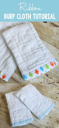 Add a little bit of ribbon and some decorative stitching, and you've got yourself some cute and custom DIY burp cloths! These are made from diapers and are a perfect gift for baby. Customize for girls or boys. Burp Cloth Patterns, Baby Patterns, Sewing Patterns, Burp Cloth Tutorial, Diy Tutorial, Baby Sewing Projects, Sewing Ideas, Diy Projects, Sewing Tips