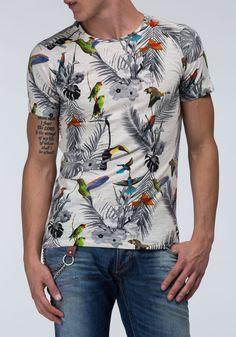 Slub cotton T-shirt with raglan sleeves and all over print