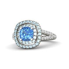 Cushion Blue Topaz 18K White Gold Ring with Aquamarine & White Sapphire   Lillian Ring (6mm gem)   Gemvara