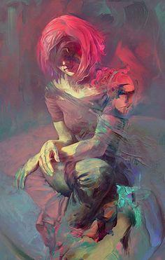 """Amanita"" - Jérôme Birti {figurative #expressionist art female redhead kneeling woman digital painting} jeromebirti.com"