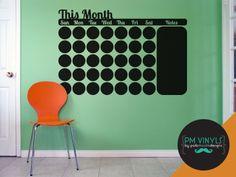 This Month Calendar Chalkboard Vinyl Decal by PMVinyls on Etsy, $19.50