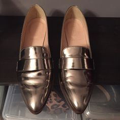 Graphite metallic loafer Metallic leather loafer. Worn a couple times on carpet. Gorgeous graphite color goes well with gold or silver. Penny loafer style is incredibly classic. Comes with dust bag. *no trades* J. Crew Shoes Flats & Loafers