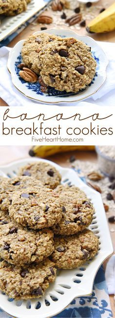 Banana Breakfast Cookies ~ a wholesome, yummy breakfast on-the-go that's naturally sweetened, gluten-free, and perfect for using up ripe bananas!   FiveHeartHome.com