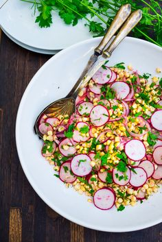 Corn and radish Salad with lime and cilantro...refreshing, vegan and Gluten free. |www.feastingathome.com