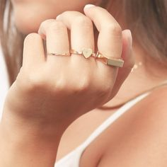 Gold Signet Ring Dainty Geometric Rectangle Gold Filled Or Silver Ring Solid Pinky Gold Ring Delicate Everyday jewelry.