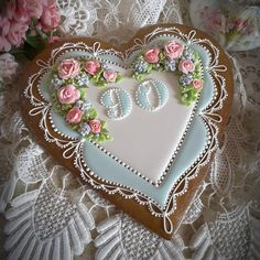 Heart, lace, royal icing roses, 90th birthday keepsake cookie by Teri Pringle Wood