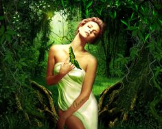 Анимация Девушка среди леса, на руке бабочка, гифка Девушка среди леса, на руке бабочка