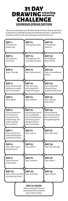 31 day drawing challenge, Grimerud spring edition. Our list of 30 topic and final exam.