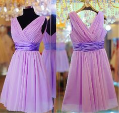 V-Neck Short  Purple Prom/Sheath/ Column Sweetheart /Cocktail/Pleated/ Bridesmaid/ Wedding Party Dress/Evening/Formal Women Dress. $58.99, via Etsy.