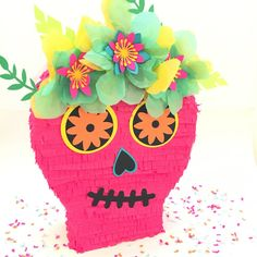 12 Sugar Skull Piñata can be made with a string to hang and trap to fill or as a card box with a slit at the top for a fiesta wedding!  Skull is 12 high, about 10 long and 4 wide. Available in any colors to match your theme. Listing is for one piñata. Piñatas do not come filled. Contact me for any special requests. ♥♥♥HOW TO ORDER♥♥♥  When you order, please list the following in the notes:  1. Color Requests 2. Event Date  >>>Shipping: Packages are sent tracked and insured and take 4...